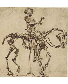 Rembrandt Harmensz van Rijn, Skeleton Rider, 1655. Ink Drawing. Hessisches Landesmuseum Darmstadt, photo Wolfgang Fuhrmannek