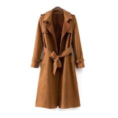 Faux Suede Long Trench Coat (545 ARS) ❤ liked on Polyvore featuring outerwear, coats, jackets, coats & jackets, brown coat, long coat, long length coats, trench coat and brown long coat