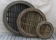 3 Round Trays Willow Weaving, Basket Weaving, Woven Baskets, Basket Tray, Vintage Baskets, Round Tray, Natural Forms, Bottle Holders, Three Dimensional