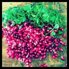 Beautiful dill, parsley and pomegranate seeds