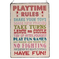 8,90EUR Playtime rules Spielregeln Regeln des Spielens Metallschild