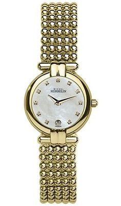 Michel Herbelin Ladies Mother of Pearl Dial Gold Plated Perle Bracelet Watch Fancy Watches, Women's Watches, Stainless Steel Case, Pocket Watch, Bracelet Watch, Pearls, Crystals, Bracelets, Gold