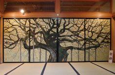 Masanori Kobayashi B Japanese Door, Japanese Tiger, Japanese Screen, Japanese House, Wooden Partition Design, Japanese Art Styles, Beautiful Places In Japan, Tree Wall Murals, Japanese Interior
