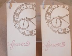 These gorgeous vintage clock wedding wish tags give add a little romance to your special day. Perfect finish wrapped around gift favours or used a place cards (can be made without string). This listing is for 10 cards.  ~ approximately 2 by 4 (5 cm x 10 cm) ~ 9 cream colored twine (not the string shown) ~ cut from a creamy manilla card stock ~ vintage clock stamp in chocolate ink (can be changed) ~ forever hand stamped in velvet pink (can be changed) ~ distressed in a vintage ink for a soft…