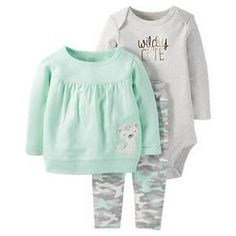Just One You™Made by Carter's® Baby Girls' 3 Piece Top/Camo Legging Set - Mint/Grey NB : Target