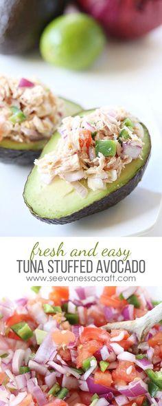 Fresh and Easy Meal - Tomato and Jalapeno Tuna Stuffed Avocado Recipe - Paleo, Gluten Free and Whole30 friendly!