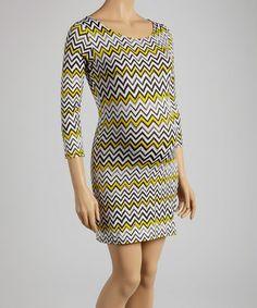 Look at this #zulilyfind! Black & Yellow Zigzag Maternity Sheath Dress #zulilyfinds