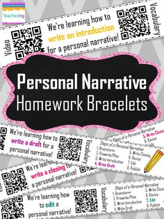 Personal Narrative Homework Bracelets with QR codes! Prepare students for the next day's writing lesson with a QR code bracelet with an narrative writing video & vocabulary activity!