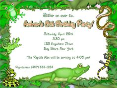 Reptile Alligator Frog Lizard Snake Birthday Party Invitations-reptile,alligator,frog,lizard,snake,  birthday,party,invitations,  personalized,invitation,reptile birthday party invitations