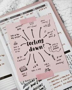 Feeling Down? 🤔 Great Tagged with aesthetics bike boullet journal bujo create dance motivation paper note picture planner read runnig tea we heart it workout Planner Bullet Journal, My Journal, Bullet Journal Inspiration, Journal Pages, Bullet Journals, Fitness Journal, Bullet Journal Anxiety, Depression Journal, Bullet Journal Mental Health