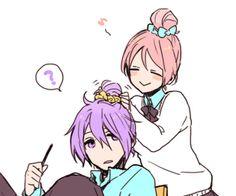 Aw, Murasakibara is getting his hair done