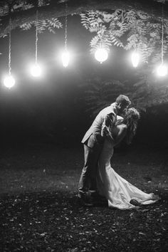 Pendant Lights Hanging from a tree branch -- Gorgeous Bride Groom Portrait! On SMP: http://www.StyleMePretty.com/2014/03/04/coral-wedding-at-mountain-magnolia-inn/ D'Arcy Benincosa Photography