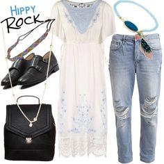 Un po' hippy e un po' rock questo outfit fuori dal comune. Se amate mescolare gli stili e vi piace giocare e sperimentare con la moda, questo è l'outfit adatto a voi.  Divertente e non banale. Rock your style!