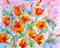large abstract California Poppies Original watercolor painting orange flowers landscape contemporary floral fine art 16 x 20. $139.00, via Etsy.