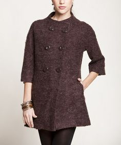 Take a look at this Brown Peacoat by Peruvian Atelier on #zulily today! $100 !!