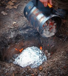 Fire in the Hole! Cooking your turkey underground. Try a Turkey Luau: Easy, Delicious Pit Roasted Turkey. Dig a hole. Place coals in the bottom. Season and wrap the bird in foil. Place in the hole and cover with coals. In 3-4 hours it's done!  Go to: FiredUpFood.com for more instructions