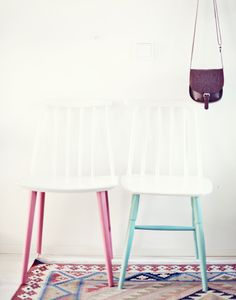 REPAINT | add color just to the legs of a simple white or wooden chair kitchen