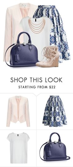 """""""Blue, White & Nude"""" by brendariley-1 ❤ liked on Polyvore featuring Miss Selfridge, Chicwish, MANGO and DaVonna"""