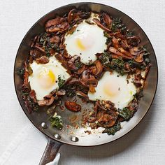 Mushroom and Kale Ragout with Poached Eggs - Fitnessmagazine.com