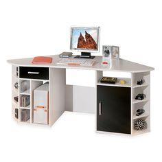 Ampia scrivania angolare, dotata di comodi ripiani per riporre e organizzare i vostri oggetti. Il prodotto e' realizzato in nobilitato.