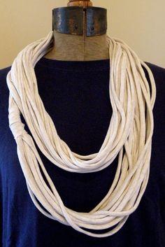 Jersey Knit Infinity Scarf WHITE HEATHER