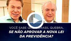 """Rejeitado por 78% dos brasileiros, que defendem sua cassação, Michel Temer recorreu ao apresentador Silvio Santos, dono do SBT, para defender a reforma da Previdência; assunto entre os dois foi discutido em um jantar na quinta-feira, 20; apenas um dia depois, o SBT passou a exibir propagandas próprias favoráveis à reforma da Previdência, que é rejeitada por 93% da população, segundo o Vox Populi; as peças, com duração de até 10 segundos, adotam clima de terror; """"Você sabia que se não fo..."""