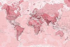 Pink World Map Wall Mural, custom made to suit your wall size by the UK's No.1 for wall murals. Custom design service and express delivery available.