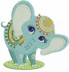 Circus elephant machine embroidery design. Machine embroidery design. www.embroideres.com