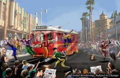 """Concept Art for """"An Entertaining Cast of Characters"""" for Buena Vista Street"""