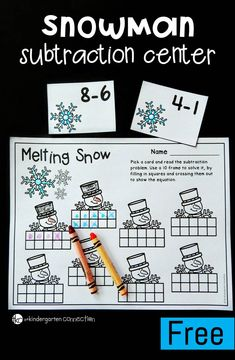 This subtraction winter math center is a fun way for Kindergarten students to work on beginning subtraction within 10 and work with ten frames too! Subtraction Activities, Kindergarten Freebies, Math Literacy, Subtraction Worksheets Kindergarten, Math Worksheets, Math Games For Kindergarten, Teaching Math, Math Activities, Numeracy