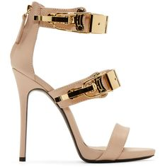 Giuseppe Zanotti Nude Pink Leather Coline Stiletto Sandals ($720) ❤ liked on Polyvore featuring shoes, sandals, heels, high heels, sapatos, embellished sandals, giuseppe zanotti sandals, leather sandals, high heel sandals and leather sole sandals