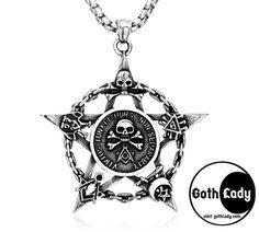 Colgante calavera cadena Skull Ace Dog Tag acero inoxidable Biker Gothic Stars