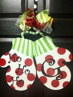 Christmas Door Hanger, Christmas Door Decor, Santa hat Door Hanger ...