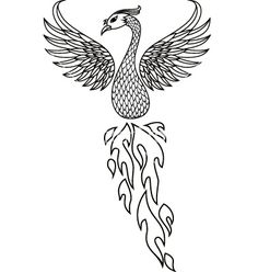 Phoenix tattoo tribal, w some edits, like fire for tail