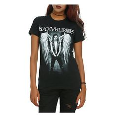 Black Veil Brides Andy Angel Girls T-Shirt Hot Topic ($17) ❤ liked on Polyvore featuring tops