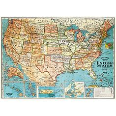 Cavallini USA Map Wrapping Paper - Paper Source