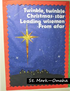 Sunday school bulletin board - Christmas and Epiphany design playing off the old nursery rhyme.