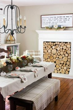 Neutral fall dining room with DIY wood box centerpiece decor. Great idea for any home design and decor