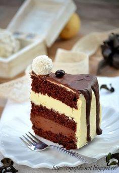 Tort Gladiator cu crema de ciocolata alba si crema de ciocolata neagra. Sweets Recipes, Just Desserts, Cookie Recipes, White Chocolate Desserts, Chocolate Recipes, Chocolate Cake, Food Cakes, Cupcake Cakes, Romanian Desserts