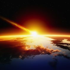 An artist's impression of a major asteroid impact.