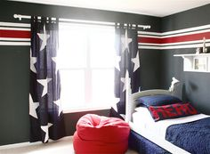 Red, White and Blue boys room.  I am in love with the curtains.