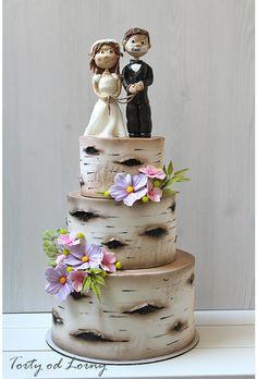 Birch Tree Wedding Cake by Lorna