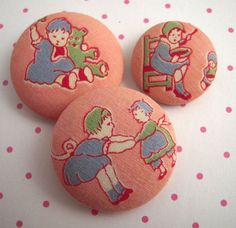 Vintage Children Playing Fabric Covered Buttons