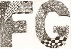 Zentangle Patterns For Beginners | More zentangled alphabet...