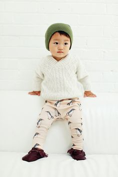 organic cotton drop-crotch trousers in penguin print, organic baby leggings, modern baby clothing by ourlittlelullaby on Etsy