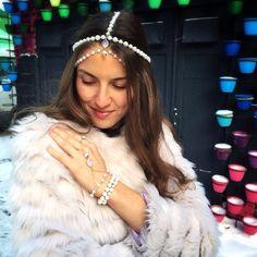 Russian jewelry designer Mira Solnyshko. Original pearl tika with Czech jewelry glass for 120 $US and original pearl with crown glass for 140 $US. Bracelet-slave from majorca pearl and crown glass for 65 $US.