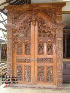 gebyok pintu ukir jati gapuro gebyok ukir pintu dari bahan kayu jati ...