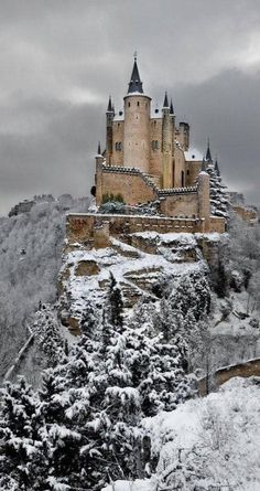 Alcazar Castle in the winter, Segovia, Spain. - This castle is just 50 minutes away form Madrid... a wonderful view!
