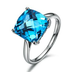 ILSOMMO ZODIAC GEM NATURAL REAL CERTIFIED 5.58 CT SWISS BLUE MYSTIC TOPAZ RING JEWELRY PRINCESS CUT 18K WHITE GOLD FREE SHIPPING-in Rings from Jewelry on Aliexpress.com $916.99
