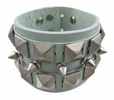 Zeckos Green Leather Spiked & Studded Wristband Wrist Band for sale online Gold Bangle Bracelet, Link Bracelets, Bracelets For Men, Beard Oil Kit, Beard Growth Kit, Beard Grooming Kits, Adjustable Bracelet, Bracelet Sizes